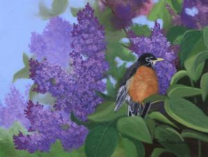 Lilacs Robin by Julie Peterson