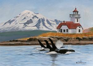 Patos Lighthouse and Orcas by Julie Peterson