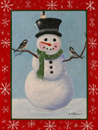 Snowman and Chickadees by Julie Peterson