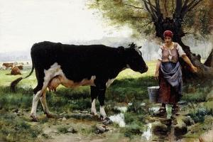 A Milkmaid with Her Cow by Julien Dupre