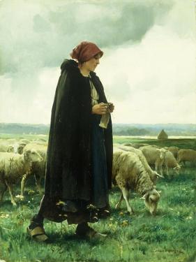 A Shepherdess with Her Flock by Julien Dupre
