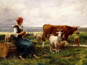 Shepherdess with Cows and Goats by Julien Dupré