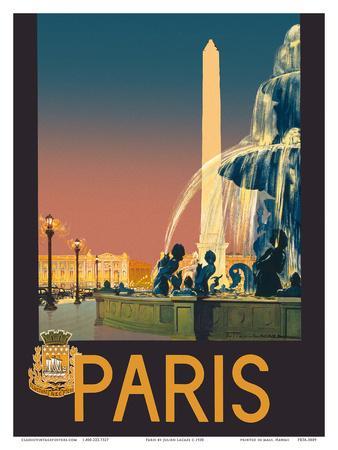 Paris - Place de La Concorde Fountain - Chemins de fer de Paris-Lyon-Méditerranée Railway (PLM)