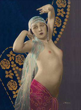 Standing Nude - Classic Vintage French Nude - Hand-Colored Tinted Art by Julien Mandel