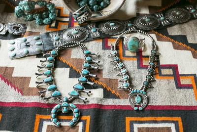 Beautiful Turquoise Jewelry Displayed for Sale, Santa Fe, New Mexico
