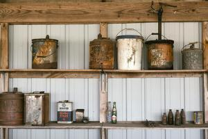 Display of Antique Buckets and Bottles, Cuba. Missouri, USA. Route 66 by Julien McRoberts