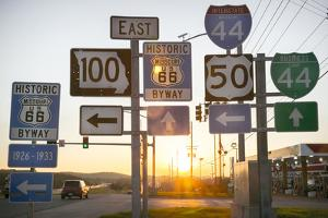 Road Sign at Sunset, Pacific, Missouri, USA. Route 66 by Julien McRoberts