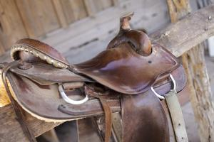 Saddle resting on the railing, Tucson, Arizona, USA. by Julien McRoberts
