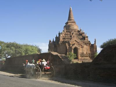 Horse and Cart by Buddhist Temples of Bagan, Myanmar (Burma) by Julio Etchart