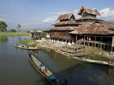 Tourists Arrive by Boat at Monastery on Inle Lake, Shan State, Myanmar (Burma) by Julio Etchart