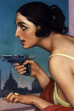 La Mujer De La Pistola 1925-Cartel Para La Union Española De Explosivos by Julio Romero de Torres