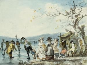 Skaters on the Serpentine, Hyde Park, London, 1786 by Julius Caesar Ibbetson