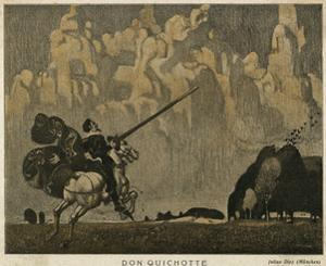 Don Quixote on Horseback with His Lance by Julius Diez