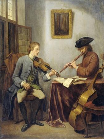 The Musicians, a Violinist and a Flutist Making Music Together, 1755 by Julius Henricus Quinkhard