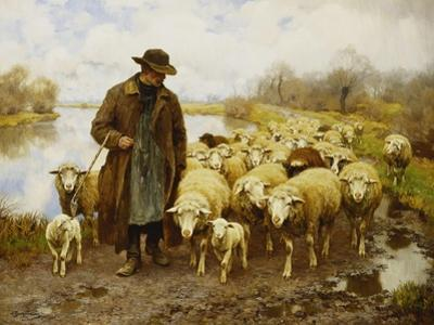 A Shepherd and Sheep by a Lake
