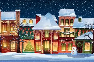 Winter landscape - Christmas background with fairy tale houses. by JuliyaM
