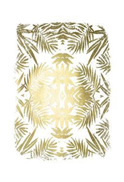 Gold Foil Tropical Kaleidoscope I by June Vess
