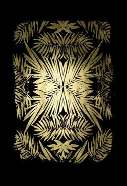 Gold Foil Tropical Kaleidoscope II on Black by June Vess