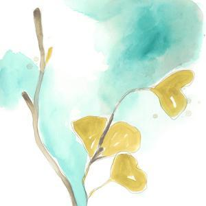 Teal and Ochre Ginko I by June Vess