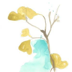 Teal and Ochre Ginko IX by June Vess