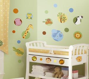 Jungle Animal Polka Dot Peel & Stick Wall Decal