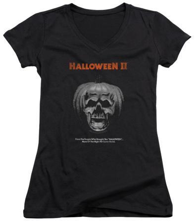 Juniors: Halloween II - Pumpkin Poster V-Neck