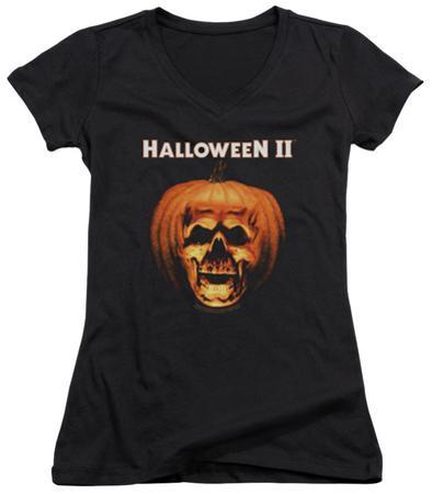 Juniors: Halloween II - Pumpkin Shell V-Neck