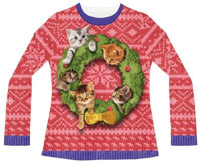 Juniors Long Sleeve: Cat Wreath Ugly Sweater (Front/Back)