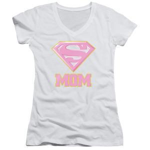 Juniors: Superman- Super Mom Pink Shield V-Neck