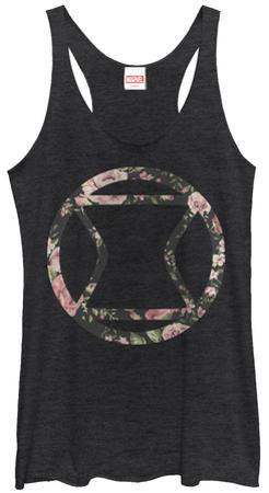 Juniors Tank Top: Black Widow- Floral Logo