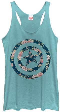 Juniors Tank Top: Captain America- Floral Shield