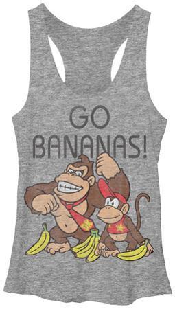 Juniors Tank Top: Donkey Kong- Go Bananas
