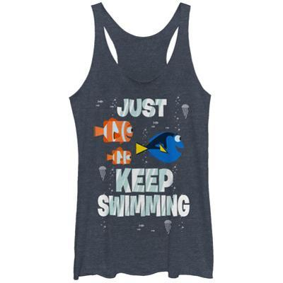 Juniors Tank Top: Finding Dory- Just Keep Swimming