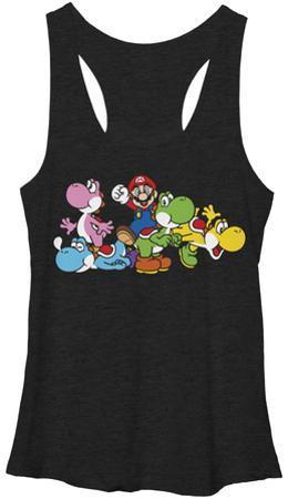 Juniors Tank Top: Super Mario- Group Yoshi