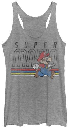Juniors Tank Top: Super Mario- Throwback Mario