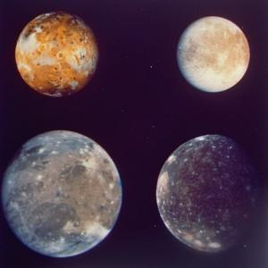 Jupiter's Satellites Io, Europa, Ganymede and Callisto as Depicted by Voyager 1 Spacecraft