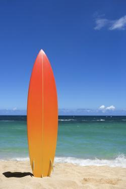 Surfboard on Beach by Jupiterimages