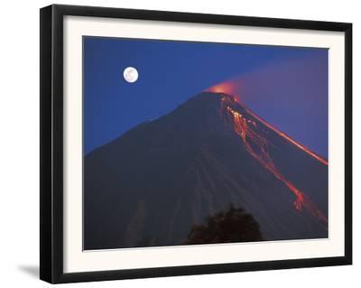 Siau Volcano Erupting with Moon Behind, N Sulawesi, Indonesia