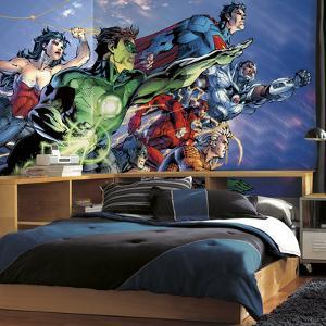 Justice League XL Chair Rail Prepasted Mural