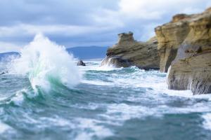 Waves Crashing Along Cape Kiwanda. Pacific City, OR by Justin Bailie