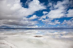 VIEW OF FLOODED UYUNI SALT FLAT IN BOLIVIA by Justin Lambert