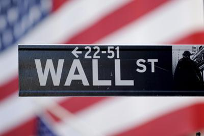 A View of a Wall Street Sign Near the New York Stock Exchange in New York, New York, USA