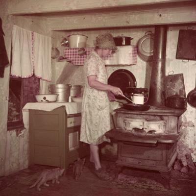 Woman Stands at Old-Fashioned Stove to Cook, Cats Prowl at Her Feet by Justin Locke