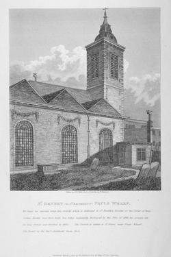 Church of St Benet Paul's Wharf, City of London, 1810 by JW White