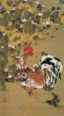 Japanese Rooster under the Grape Tree by Jyakuchu Ito