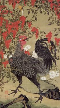 Japanese Rooster with Two Birds by Jyakuchu Ito