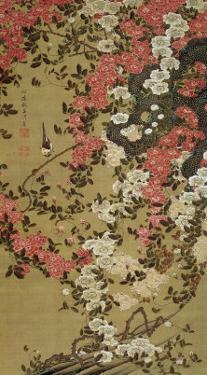Small Bird and Red Roses by Jyakuchu Ito