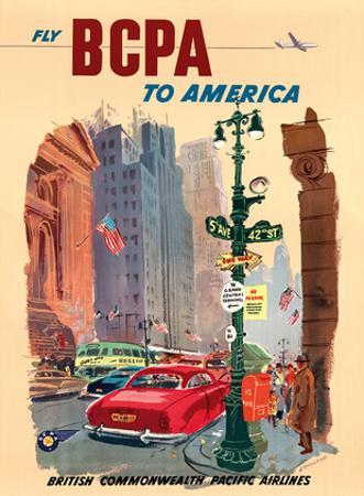 New York City - Fly BCPA to America - British Commonwealth Pacific Airline by K. Howland