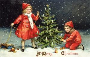 A Merry Christmas with Two Children Decorating Tree by K.J. Historical