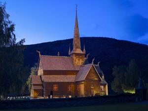 Norway, Lom, Stave Church, Lighting by K. Schlierbach